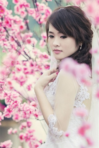 iPhone Wallpaper Beautiful Asian girl, bride, spring, cherry flowers
