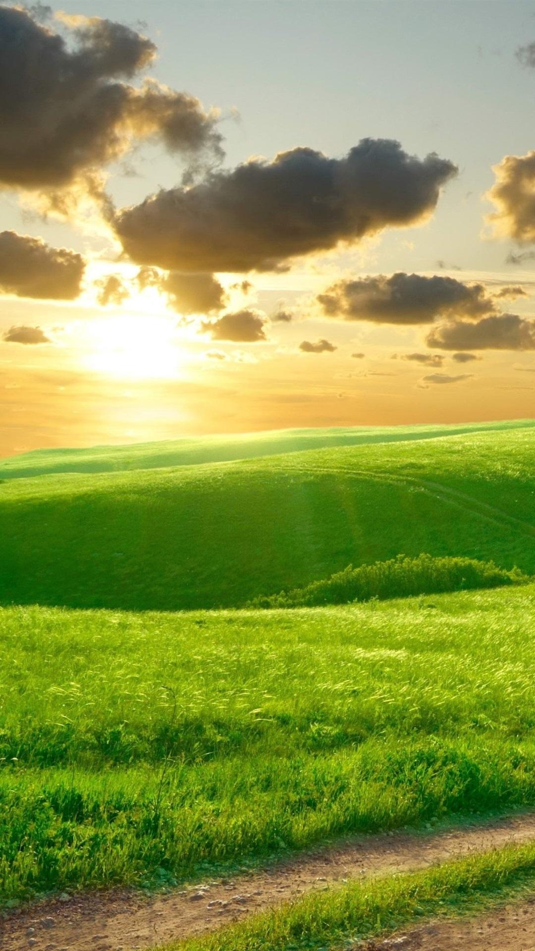 壁纸 美丽的绿草,早晨,小山,路,云彩,日出 3840x2160 Uhd 4k 高清壁纸 图片 照片