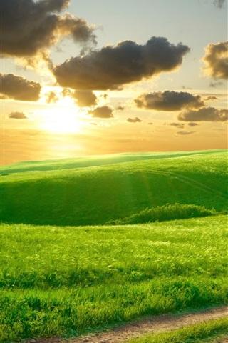 iPhone Wallpaper Beautiful green grass, morning, hills, road, clouds, sunrise