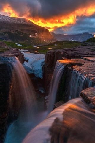 iPhone Wallpaper Beautiful nature sunset, clouds, mountains, waterfall, snow