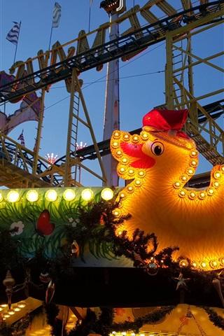 iPhone Wallpaper Berlin, roller coaster, carousel, playground, toy duck, lights