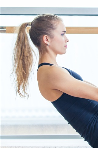 iPhone Wallpaper Blonde girl, sportswear, yoga, sport