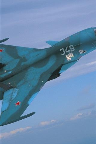 iPhone Wallpaper Blue fighter flight in sky