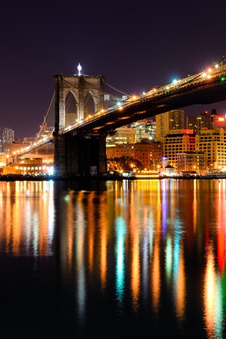 iPhone Wallpaper Brooklyn bridge, New York, Hudson river, USA, night, city, illumination