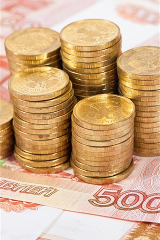 iPhone Wallpaper Cash, currency, coins, rubles