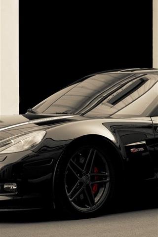 iPhone Wallpaper Chevrolet Corvette black supercar side view