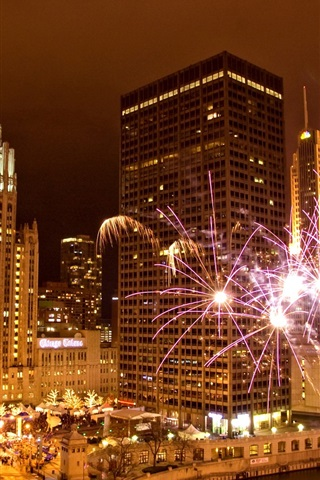 iPhone Wallpaper Chicago, Illinois, USA, city, night, fireworks, skyscrapers