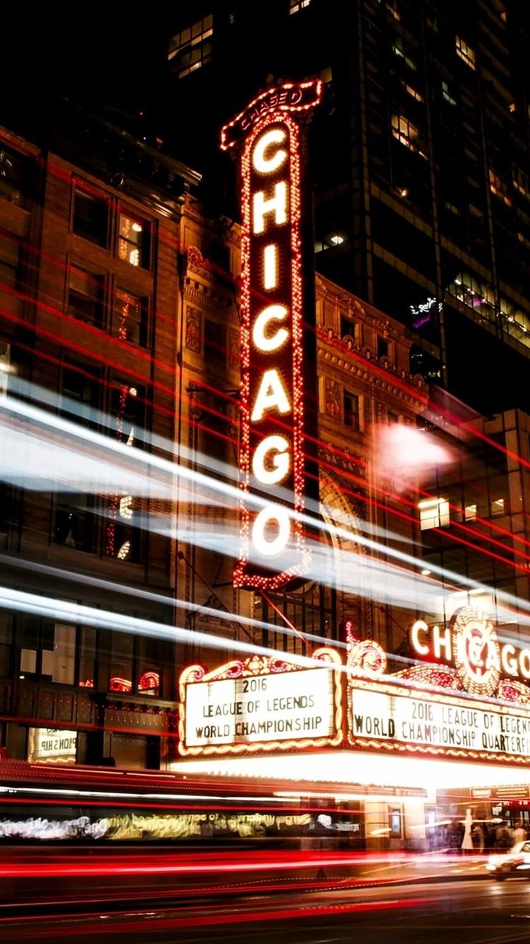 Chicago Illinois Usa City Night Street Lights Traffic