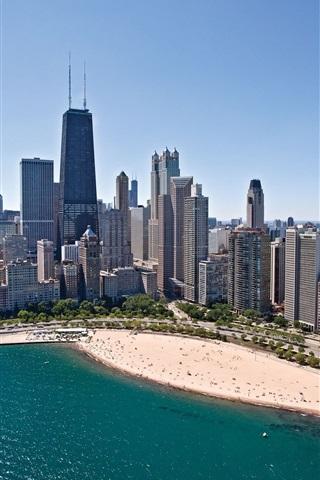 iPhone Wallpaper Chicago, skyscrapers, coast, beach, sea, city, USA