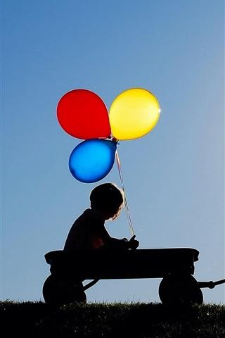 iPhone Papéis de Parede Crianças, balões coloridos, guarda-chuva, silhuetas
