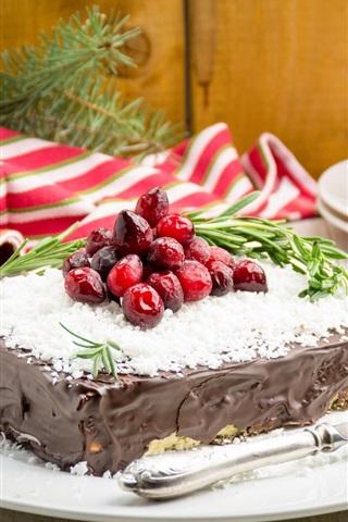 iPhone Wallpaper Chocolate cake, dessert, berries, knife