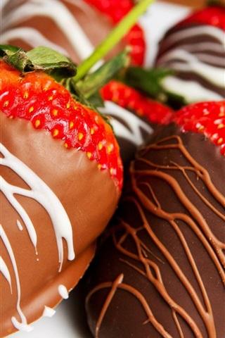 iPhone Wallpaper Chocolate-covered strawberries, fruit dessert