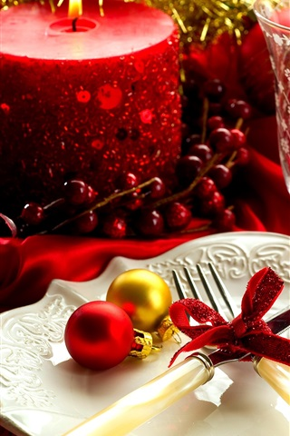 iPhone Wallpaper Christmas, New Year, decoration, glass cup, candle, plate, fork, knife, balls