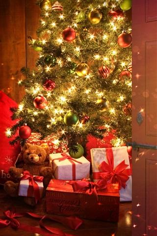 Christmas tree, balls, gifts, lights, room 1080x1920 iPhone