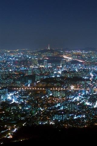 iPhone Wallpaper City night, Seoul, South Korea