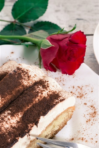 iPhone Wallpaper Dessert, tiramisu, cake, coffee, rose