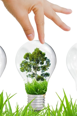 iPhone Wallpaper Environmental protection, ecology, light bulb, grass, tree, creative design