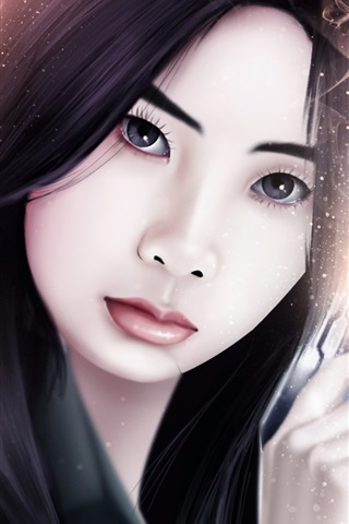 iPhone Wallpaper Fantasy Asian girl, weapons, sparks