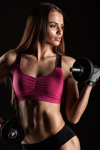 iPhone Wallpaper Fitness girl, female, dumbbell, sportswear, workout, black background