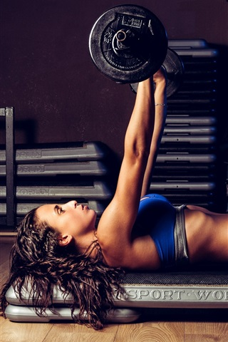 iPhone Wallpaper Fitness girl, pose, workout, weightlifting