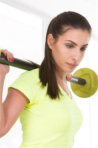 iPhone Wallpaper Fitness girl, yellow dress, workout, dumbbell