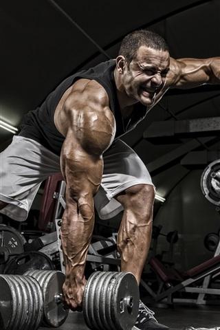 iPhone Wallpaper Fitness men, dumbbells, bodybuilder