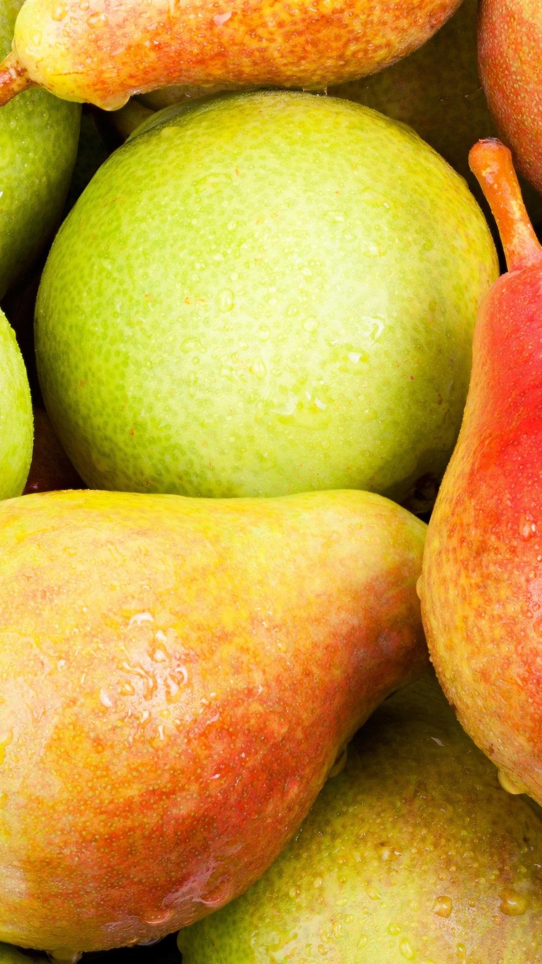 Fresh Pears Sweet Fruit Water Drops 1080x1920 Iphone 8 7 6