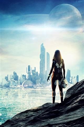 iPhone Wallpaper Future, sci-fi, city, skyscrapers, sea, girl, planets