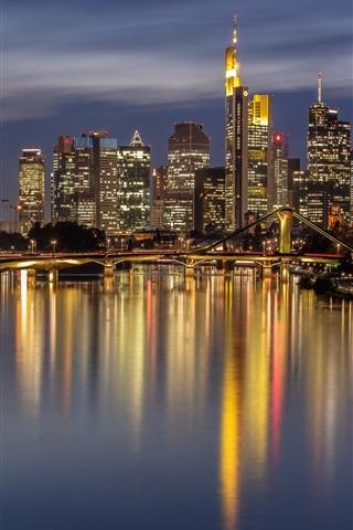 Germany Frankfurt Night City River Bridge Lights