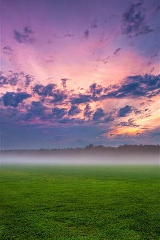 iPhone Wallpaper Germany, clouds, sunset, fog, haze, green field, evening