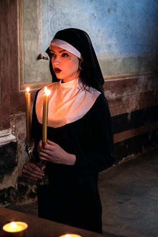 iPhone Wallpaper Girl, nun, prayer, candles