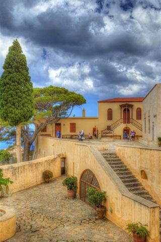 iPhone Wallpaper Greece, Preveli, Crete, monastery, coast, sea, clouds
