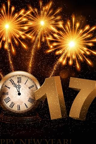 iPhone Обои С Новым годом 2017, фейерверк, часы