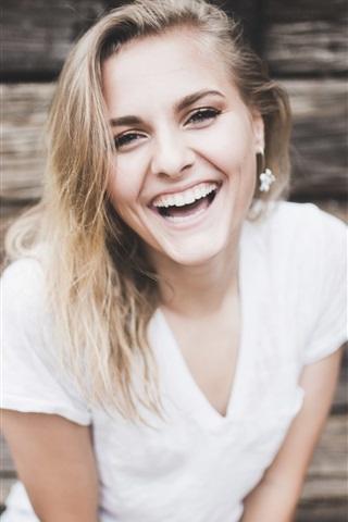 iPhone Wallpaper Happy girl, blonde, smile