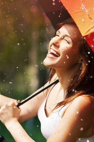 iPhone Wallpaper Happy girl in rain, umbrella