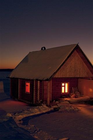 iPhone Papéis de Parede Cabana, neve, inverno, luzes, noite
