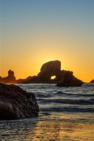 iPhone Wallpaper Indian Beach, rocks, sea, sunset, Oregon, USA