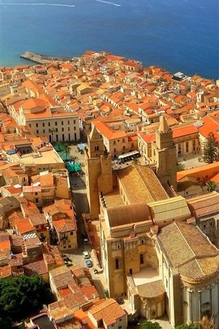 iPhone Wallpaper Italy, Sicily, coast, sea, houses, city