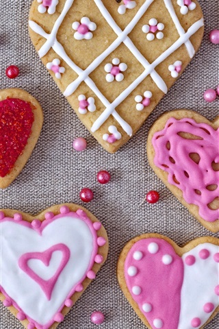 iPhone Wallpaper Love hearts cookies, Valentines