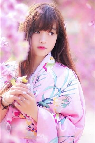 iPhone Wallpaper Lovely Japanese girl, spring, sakura, kimono