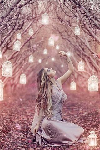 iPhone Wallpaper Magic lanterns, long hair girl, trees