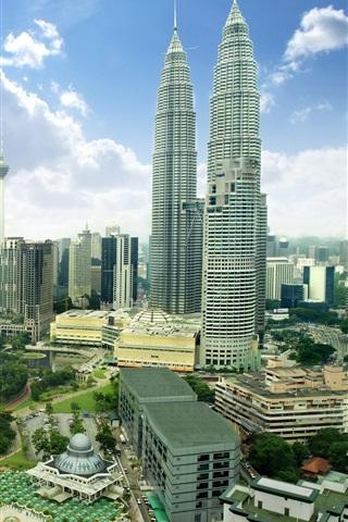 iPhone Wallpaper Malaysia, Kuala Lumpur, city, skyscrapers