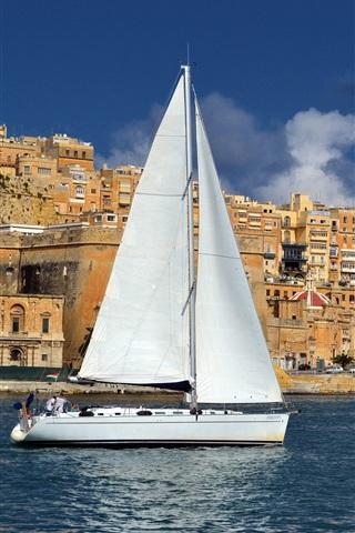 iPhone Wallpaper Malta, city, houses, sea, sailboat