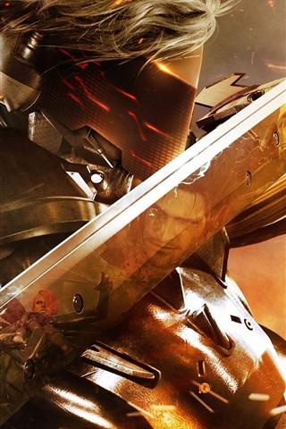 iPhone Papéis de Parede Metal Gear Rising: vingança, máscara, espada