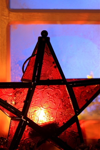 iPhone Wallpaper New Year, Christmas, 2017, lights, candle, five-pointed star, window