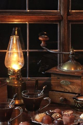 iPhone Wallpaper Night, room, still life, window, lamp, book, chocolate, coffee beans, coffee grinder