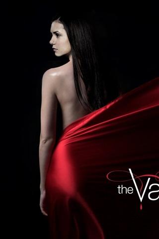 iPhone Обои Нина Добрев, Дневники вампира, красное платье, черный фон