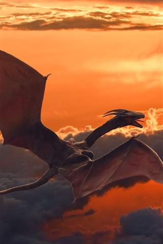 iPhone Wallpaper Pterosaurs flying in sky, dragon, clouds, dusk
