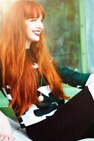 iPhone Wallpaper Red hair girl, smile, legs, rest