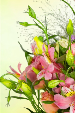 iPhone Wallpaper Roses, eustoma, bouquet, flowers, green background